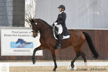 Popular and successful international dressage rider, Rozzie Ryan is pictured aboard the talented, 'Adonie' that took seventh place in the  FEI CDI-W Grand Prix Freestyle with 70.085%