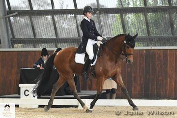 Elizabeth Brand rode, 'Quamby Farm Cloud Street' to fourth place in the FEI CDI-Junior Freestyle with 64.000%