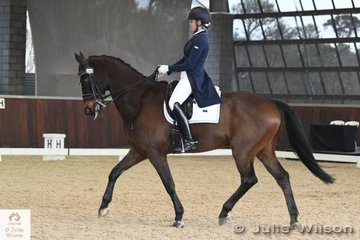 Jasmine Haynes rode the former Mary Hanna ride, 'Umbro' to win the FEI CDI-Junior Freestyle with 69.167%.