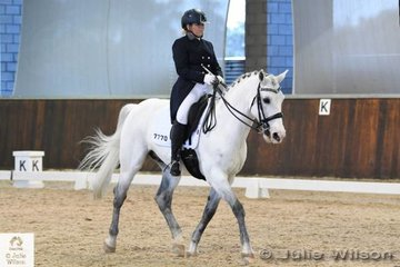 Samantha Loane from NSW braved the Victorian winter and is pictured riding, 'Summerzar Rhombus' to take tenth place in the FEI Intermediate 1 at the Boneo Winter CDI.