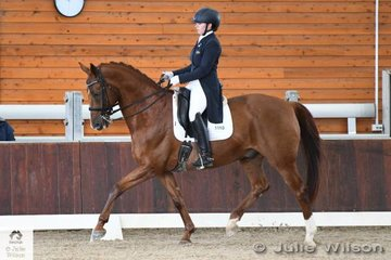Madison Layfield rode her Queensland bred, 'Remi Legenderry' to take second place in the FEI CDI-Y Freestyle with 67.083%