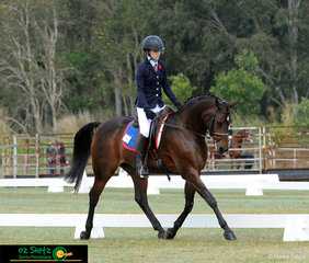 Shilah Morris and her horse Make A Wish execute some beautiful movements in their Intermediate Preliminary test on the first day of competition at the Interschool QLD State Championships.