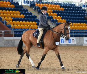 Freya Kenney and Salix Matsudana trot around the arena at the Interschool QLD State Championships held at the Queensland State Equestrian Centre.