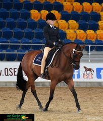 Kimberly Webb and Silkwood Playboy from Assisi Catholic College compete in the Secondary Show Horse.