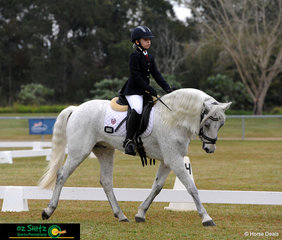 12 year old Connamarra Gelding Glenormiston Rough Diamond looks after his 9 year old rider, Sydney Bentley in the Primary Preliminary Dressage.
