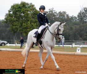 Holly Wickham rode Kinnordy Gyron in the Prix St George dressage and performed a wonderful test on behalf of The Scots PGC College.