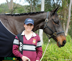Saskia Hind and her reliable dressage horse, Bundy Royal. at their last Interschool QLD State Championships together.
