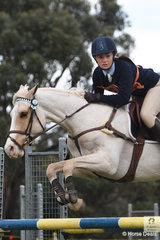 The eyes have it. Melanie Young makes it clear where she is heading next in the jump off riding her, 'Memphis Magic'. The pair representing the Kootingal Pony Club from Zone 5 won the 15 and Under 17 B Grade AM5 on day one of the PCA NSW State Showjumping Championships conducted at Morisset Showgrounds.