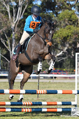 Saskia Patten representing Mangrove Mountain Pony Club and Zone 26 rode her Australian Pony, 'Koorana Regal Prince' to take third place in the Under 13 D Grade AM5 #2.
