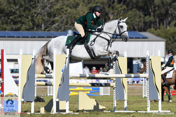 Tayla Chapman representing the nambucca River District Pony Club and the  winning Zone 9 rode , 'Clairvale Tiger Fibbs' to win the Associate B Grade Accumulator today.