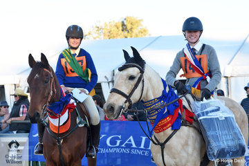 The 15-17 section was a strong and L-R Reserve Champion, Jacqueline Coombes and 'Rainman' from Bingara Pony Club and Zone 8 is pictured with the Champion, Ryleigh O'Hare aboard her talented, 'Navahome Bono' from Lake Albert Pony Club and Zone12.