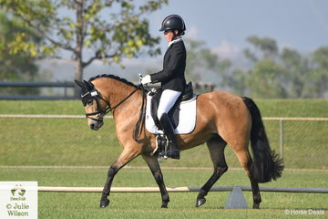 Mandy Smith riding Dracmore Flirtacious took second place in the Novice Pony 2.3, on the second day of dressage competition at the 2018 Royal Darwin Show.