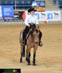 Ruby Macarthur rode Wimpys Packin Heat in Beginner Youth and Beginner Rider classes at the Queensland Reining State Championships.