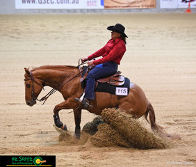 Hayley Smith rode her 15 year old Quarter Horse gelding, Yuglibar Requestamelody to take 4th place in the Senior Horse Non Pro.