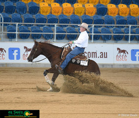 Riding his late brother's horse, A Smooth Kitty was David Nixon in the Novice Horse Open Level 1 at the Queensland Reining Horse State Championships.