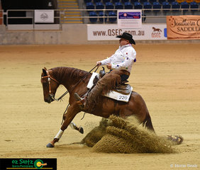 Wimpys Red Chilli and Greg Peters in the Open class, with Greg wearing a 'Best Trainer' and 'I love Opie' decorated shirt after losing a bet to Charlotte. If Charlotte won a buckle, he had to wear a shirt of her collection at a state show. She made the shirt for him to wear.