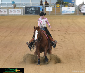 Sidney Paech and Onya Wozza slides  into the arena Intermediate Non Pro