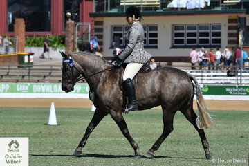 In demand as a rider, Emily Wonka rode Penny Beiber's, 'Wendara Silver Lining' to win the class for Waler Under Saddle.