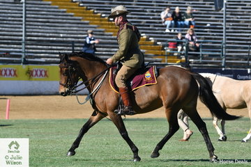 Tony Hodges rode the Redgum Walers', 'Equitana Gunner' to second  place in the class for Best Troop Horse.