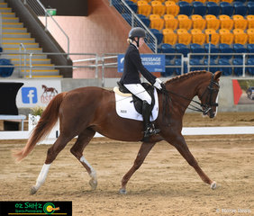 14 year old Junior rider Madeleine MacKenzie and Lucinderella her 16 year old Warmblood x Thoroughbred competed in the Medium on the second day of the Queensland State Dressage Championships.