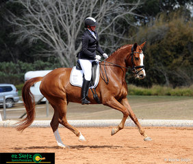 Riding in the Hoof Gold Open Novice 2.2, Erin Flanagan and Benchmark Live The Dream at the 2018 Queensland State Dressage Championships.
