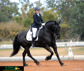 Rebecca Aitken and Mountain Creek Mystique perform a supple test in the Adult Amateur Owner Rider Novice 2.2 on Saturday.
