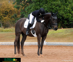 Macada Roebig was extremely happy with her 13 year old Warmblood gelding, Leadburn Rockin Rio in the Elementary 3.3 Open on Sunday.