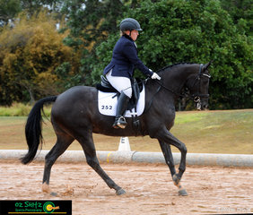 Leah McLellan and Stockie Stella make a splash through the arena in the Equistore Adult Amateur Owner Rider Elementary 3.3 on the final day of the Queensland State Dressage Championships.
