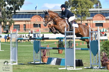 Samantha Morrison and her, 'Biarritz' make a super jump during the Part 1 One Round class today.
