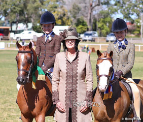 "Reserve Champion Small Show Hunter Pony ""Yartarla Park Chipmonk"" and Jess Callus;  judge Mardi Mangan; Champion Small Show Hunter Pony ""Eagle Park Achillies"" ridden by Anneliese Hughes for Amanda Hay."