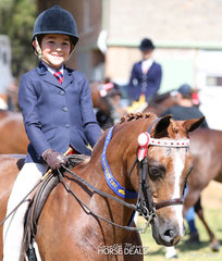 "An always smiling Tyler Sams pretty happy with his Child's Pony under 14hh win with ""Owendale Honeycomb""."
