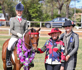 "Trinette Crawford won Supreme Saddle Horse of the Show with ""Braeburn Park Spring Dance"". Pictured with judges Carol Heuchan and Wendy Pollard."