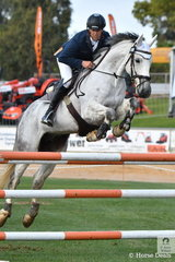 Professional jumping rider from Victoria, James Harvey rode his, 'Patangas Hiccup' to win the Part 3 jump off class this morning.