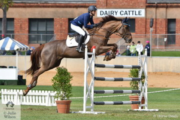 Angela Dobbin is having a great show and is pictured aboard Wendy Keddell's, 'Miranda MVNZ' that took third place in the Part 3 jump off class this morning.