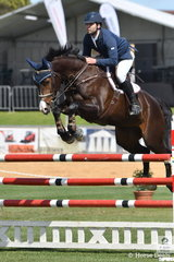 South Australian jumping rider, Adam Metcalfe rode Peter Graham's, 'MEC Aston', by Anton out of a Belcam Gambler/Sky High mare to impress today and win the Part 2 jump off class.