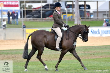 Rebecca Gerber's well performed Show Hunter Pony, 'Loriot Breaking Dawn' took third place in the Open 13.2-14hh class.