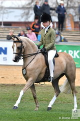 Kate Halliday's,' Emblem Enchantment' won the class for Show Hunter Pony Mare, N/E 12.2hh.