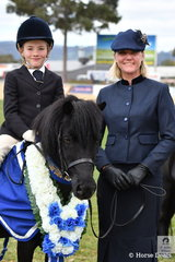The next generation. Successful showing rider, Leanne Donoghue is pictured with her son Jet and 'Ferdon Park Hylton' after claiming the class for Shetland Turnout Rider 5 AU 8 Years.
