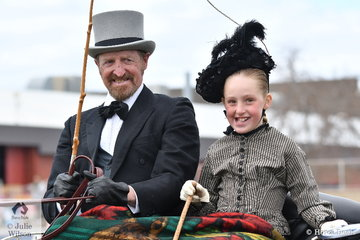 On their way to church. Successful harness driver and producer, Andrew James and Lily Ford are pictured in early Victorian costume during a Harness Period Turnout class today.