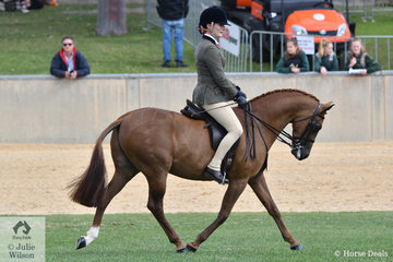 Janine Orpwood is pictured aboard her Lightweight 12.2-14hh Show Hunter Pony winner, 'Monte Christo V' during the Large  Show Hunter Pony Championship ride off.