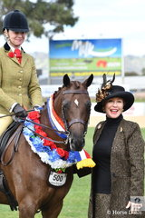 Charlie Hunt went all the way with the Argyl Stud's, 'Argyl Diamond'. The Five year old mare by Fernleigh Fine Print out of  Kolbeach Holly's Star (imp) was declared Best Novice Show Hunter and today took out the 2018 Adelaide Large Show Hunter Pony Championship. The winning combination are pictured with judge, Leonie Walsh.