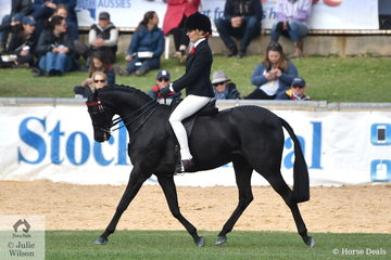 Renae Dorney rode her, 'Nottingham Love Song'  (entered in the 13.2-14hh class) to win the class for Open Pony 13-13.2hh and is pictured during the strong Large Pony Championship ride off.