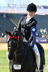 Denim Moloney rode her , 'Wesswoods Supa Caste' to win the class for Smartest On Parade Riders 15 AU 18 Years.