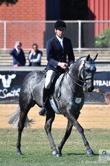 Newly crowned Champion Gentleman Rider, Greg Mickan rode Emily Dennis', 'DQ Sapphire' to win the class for Novice Galloway 14.2-15hh.