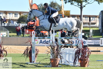 Talented jumping rider, Clint Beresford from Bega in NSW rode his, 'SL Donato' to win the John and Rae Brice Grand Prix.