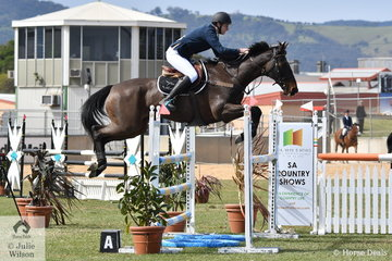 Kane Johnson rode Kristy Bruhn's very successful Grand Prix horse, the Thoroughbred, 'Harbarty' to take fifth place in the Junior Jump Off class today.