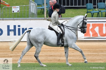 Victoria Fricker rode her own and sister, Caitlin's, 'Silver Moon' to win the class for Novice Show Hunter Over 16.2hh.