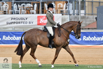 Lesley Burrows rode her, 'Dark Secrets' to take fourth place in the class for Open Show Hunter 15.2-16hh.