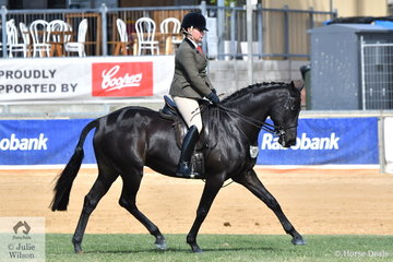 Fiona McIntyre from Victoria claimed second place in the Open Show Hunter 15-15.2hh with her gleaming, 'Genre'.