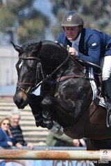 Clint Beresford from Bega in NSW rode Emmaville Jitterbug to jump four and clear to win the Princess Royal Station World Cup Qualifying Round.